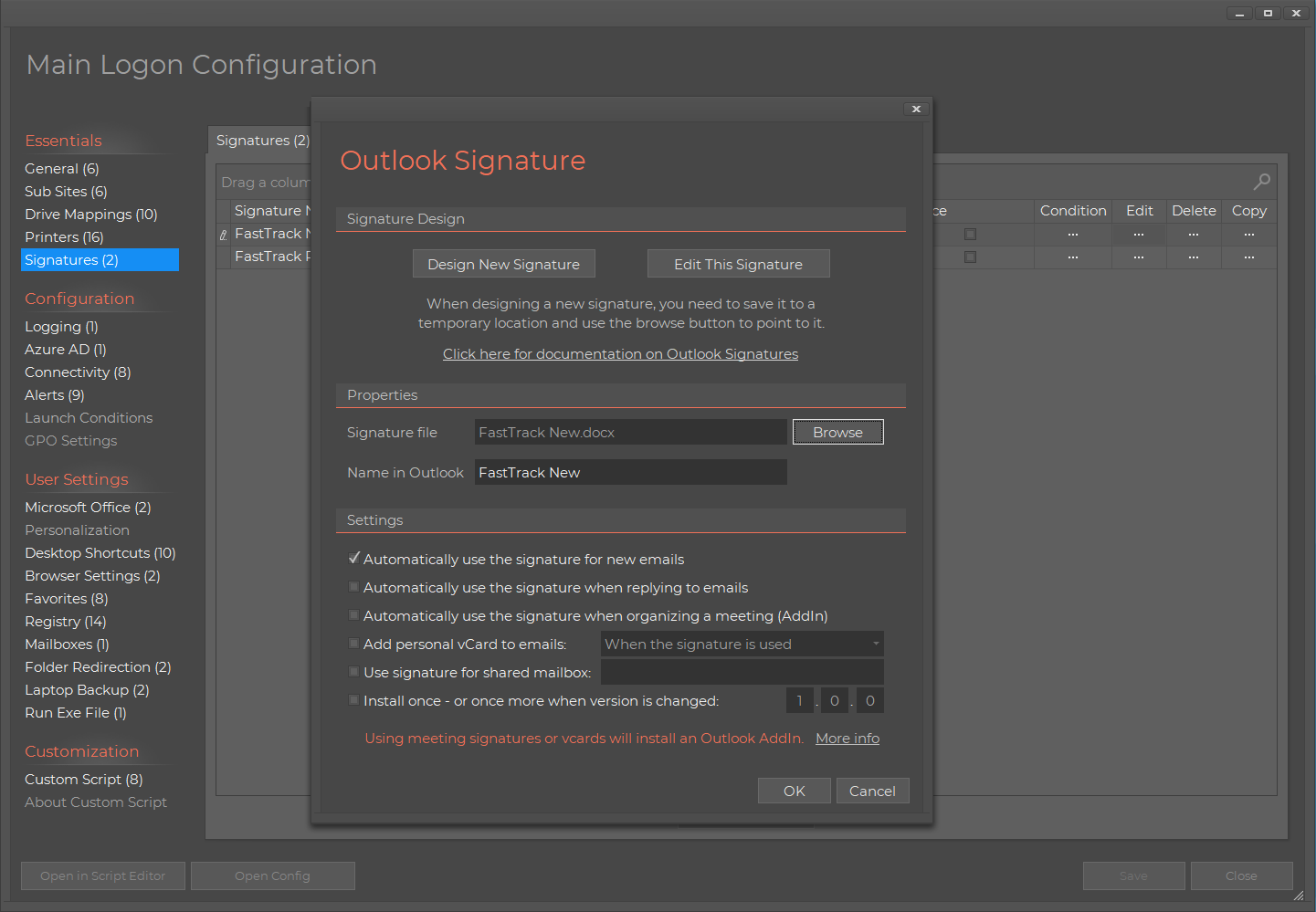 Home Screen Logon Script Outlook Signature