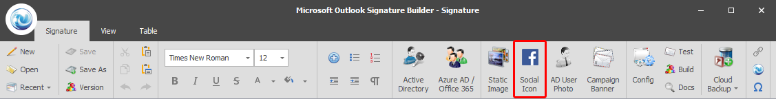 Microsoft Outlook Signature - Social Media Icons