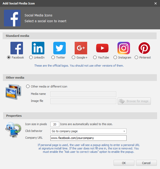 Microsoft Outlook Signature - Social Media Icons Configuration